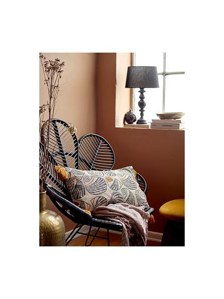 Lampada da tavolo con base in legno Bera, Paralume: lino, Base della lampada: legno di albero della gom, Nero, Ø 30 x Alt. 51 cm