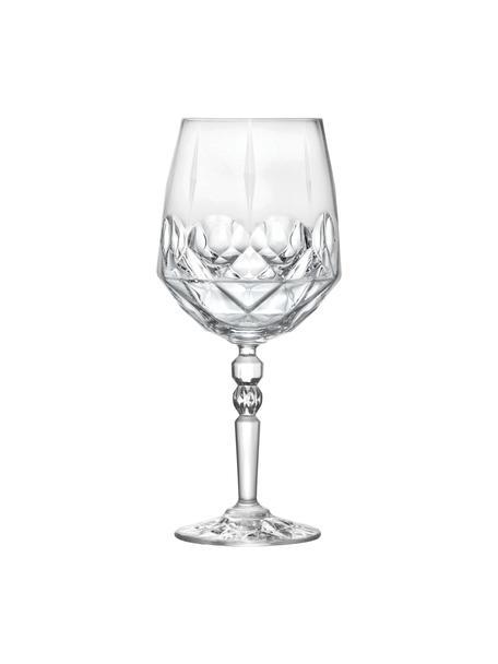 Copas de vino blanco de cristal con relieve Calicia, 6uds., Cristal Luxion, Transparente, Ø 10 x Al 24 cm