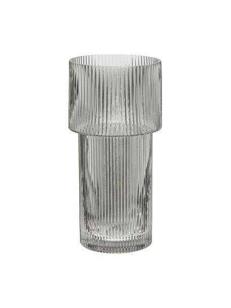Vaso moderno in vetro Lija, Vetro, Grigio trasparente, Ø 14 x Alt. 30 cm