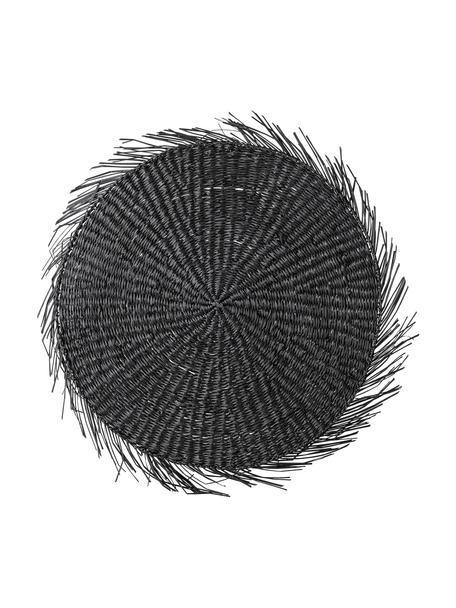 Mantel individual redondo de seagrass Whirl, Algas marinas, Negro, Ø 38 cm