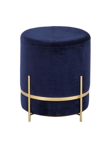 Samt-Hocker Haven, Bezug: Baumwollsamt, Marineblau, Goldfarben, ∅ 38 x H 45 cm