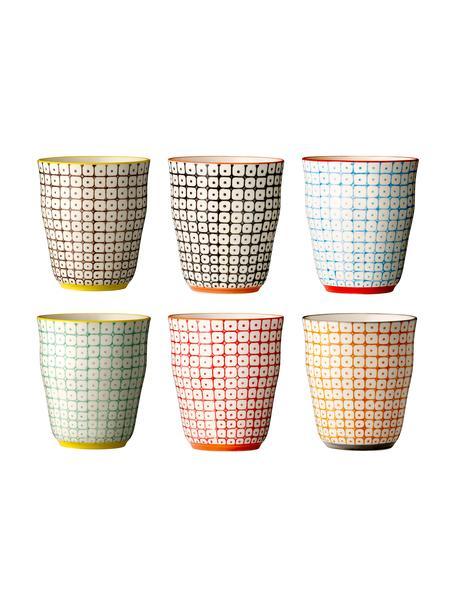 Set 6 tazze senza manico con motivo piccolo Carla, Gres, Multicolore, beige, Ø 9 x Alt. 10 cm