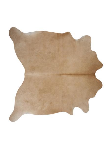 Alfombra de piel bovina Anna, Piel bovina, Blanco, beige, Piel bovina única 1151