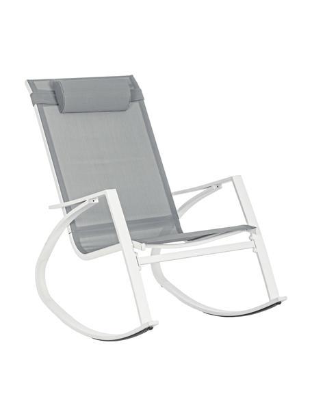 Fotel bujany z regulowanym zagłówkiem Demid, Stelaż: stal fosforanowana i malo, Tapicerka: tekstylia, Biały, S 95 x G 61 cm