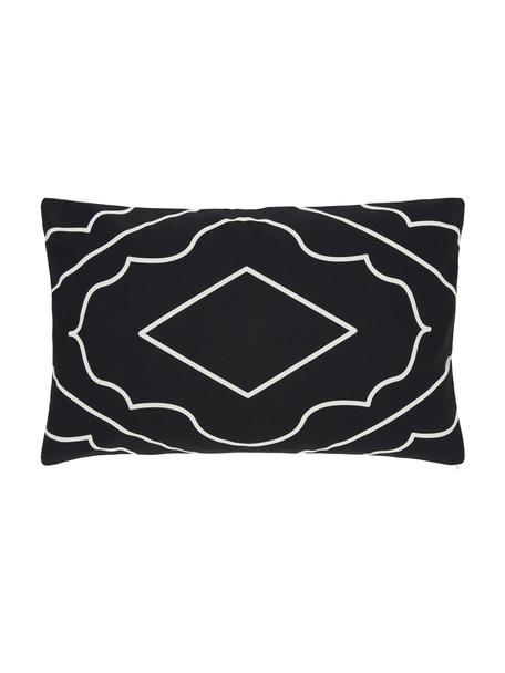 Boho-Kissenhülle Demi in Schwarz/Cremeweiß, 100% Baumwolle, Weiß, Schwarz, 30 x 50 cm