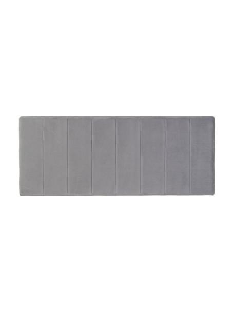 Testiera imbottita in velluto grigio Adrio, Rivestimento: 100% velluto di poliester, Struttura: legno, metallo, Velluto grigio, Larg. 160 x Alt. 64 cm
