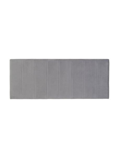 Zagłówek tapicerowany z aksamitu Adrio, Tapicerka: 100% aksamit poliestrowy, Stelaż: drewno naturalne, metal, Aksamitny szary, S 160 x W 64 cm