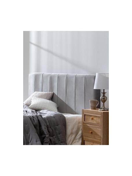 Cabecero tapizado en terciopelo Adrio, Tapizado: 100%terciopelo de poliés, Estructura: madera, metal, Terciopelo gris, An 160 x Al 64 cm