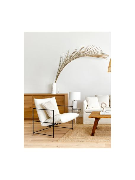 Sillón tapizado Wayne, Funda: 80%poliéster, 20%algodó, Estructura: metal, con pintura en pol, Tejido blanco, An 69 x F 74