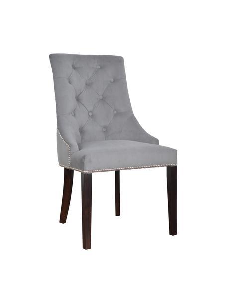 Sedia imbottita in velluto grigio Madam, Rivestimento: velluto (100% poliestere), Velluto grigio, gambe marrone scuro, Larg. 56 x Prof. 64 cm