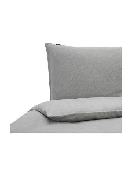 Flanellen dekbedovertrek Groove, Weeftechniek: flanel, Grijs, 140 x 200 cm + 2 kussen 60 x 70 cm