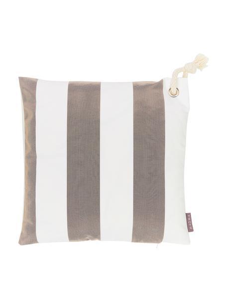 Funda de cojín de exterior a rayas Santorin, 100%polipropileno, Gris pardo, blanco crudo, An 40 x L 40 cm