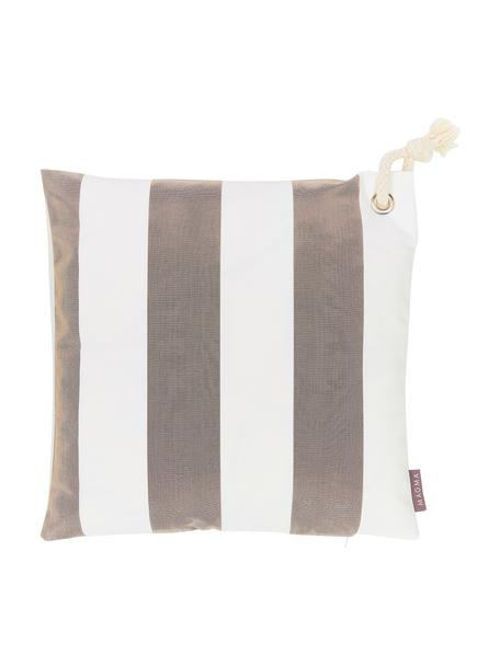 Gestreepte outdoor kussenhoes Santorin in grijs/wit, 100% polypropyleen, Taupe, gebroken wit, 40 x 40 cm