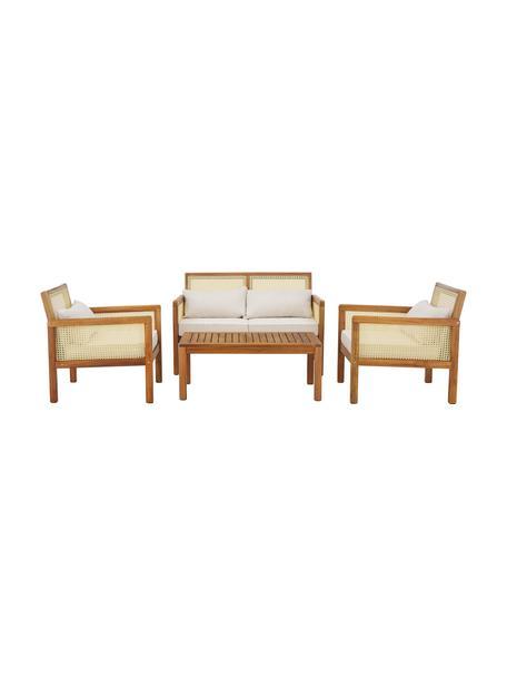 Garten-Lounge-Set Vie mit Wiener Geflecht, 4-tlg., Wiener Geflecht: Polyethylen, Beige, Set mit verschiedenen Grössen