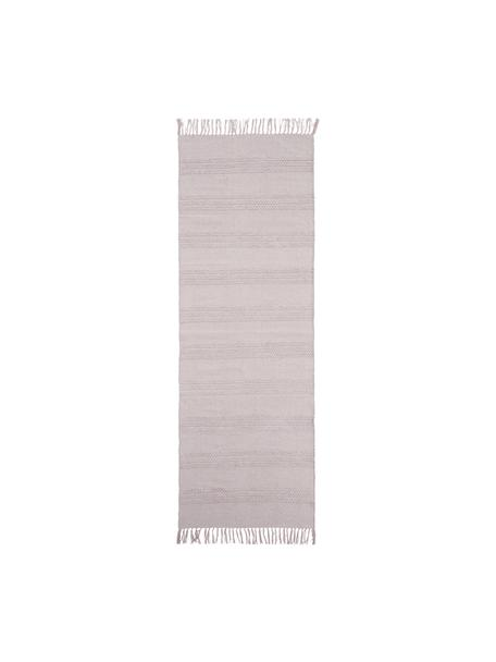 Baumwollläufer Tanya mit Ton-in-Ton-Webstreifenstruktur und Fransenabschluss, 100% Baumwolle, Rosa, 70 x 200 cm