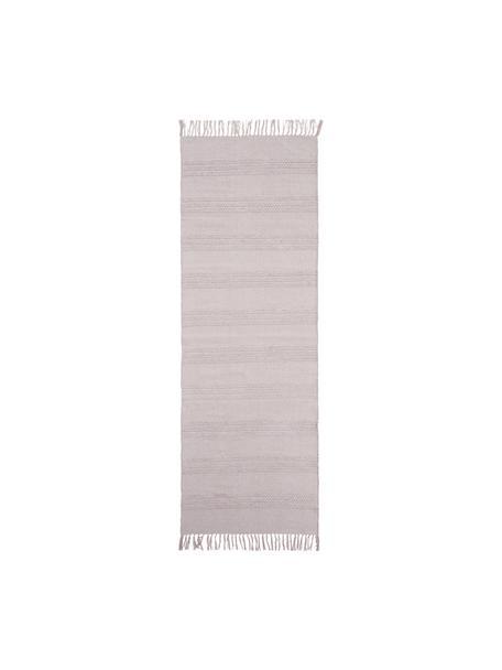 Passatoia in cotone a righe  tono su tono con finitura a frange Tanya, 100% cotone, Rosa, Larg. 70 x Lung. 200 cm