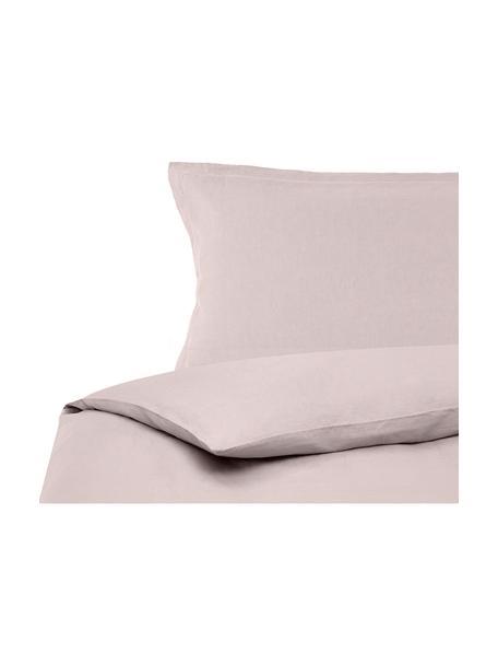 Pościel lniana z efektem sprania Nature, Brudny różowy, 135 x 200 cm + 1 poduszka 80 x 80 cm