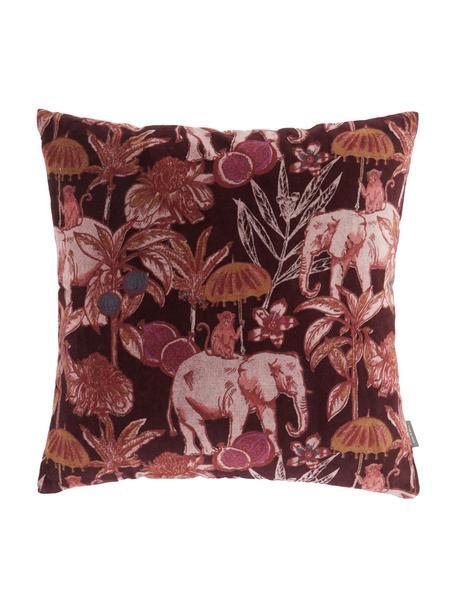Samt-Kissen Elephant, mit Inlett, Bezug: 100% Baumwolle, Bordeauxrot, Mehrfarbig, 45 x 45 cm