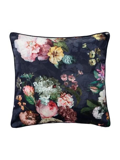 Samt-Kissen Fleur mit Blumenmuster, mit Inlett, Bezug: 100% Polyestersamt, Dunkelblau, Mehrfarbig, 50 x 50 cm