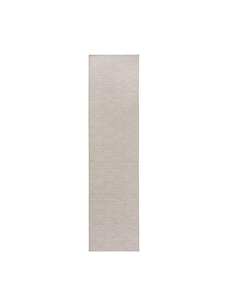Passatoia in lana con motivo grafico Jacob, 70% lana, 30% viscosa, Grigio chiaro, beige, Larg. 80 x Lung. 300 cm