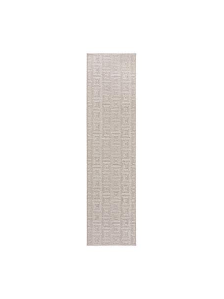 Wollläufer Jacob mit grafischem Muster, 70% Wolle, 30% Viskose, Hellgrau, Beige, 80 x 300 cm