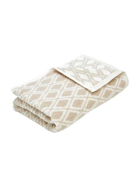 Dubbelzijdige handdoek Ava met grafisch patroon, 100% katoen, middelzware kwaliteit, 550 g/m², Zandkleurig, crèmewit, Gastendoekje