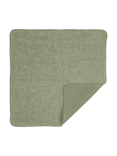 Tovagliolo in eco-lino verde salvia Gracie, 100% lino, Verde salvia, Larg. 45 x Lung. 45 cm