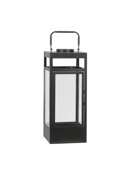 Mobiele batterij-aangedreven LED lantaarn Flint, Frame: gecoat metaal, Zwart, 17 x 42 cm
