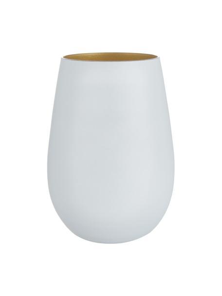 Vasos highball de cristal Elements, 6uds., Cristal recubierto, Blanco, latón, Ø 9 x Al 12 cm