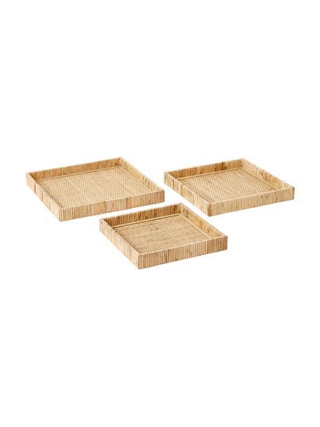 Rattan-Tablett Fuji in verschiedenen Größen, 3er-Set, Rattan, Sperrholz, Rattan, Set mit verschiedenen Größen