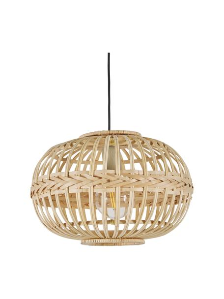 Lampada a sospensione in bambù Adam, Paralume: bambù compensato, Baldacchino: metallo verniciato a polv, Beige, Ø 38 x Alt. 27 cm