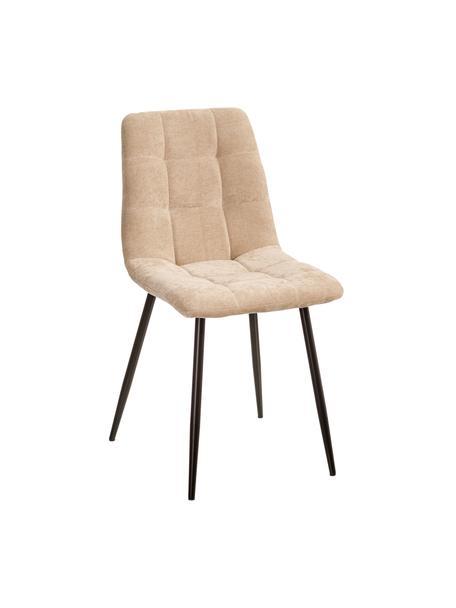 Krzesło tapicerowane z aksamitu Hope, Tapicerka: 100% aksamit poliestrowy, Nogi: metal, Beżowy, czarny, S 42 x G 44 cm