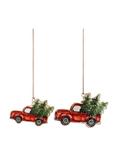 Adornos navideños Cars, 2uds., Adornos: metal, Rojo, verde, Set de diferentes tamaños