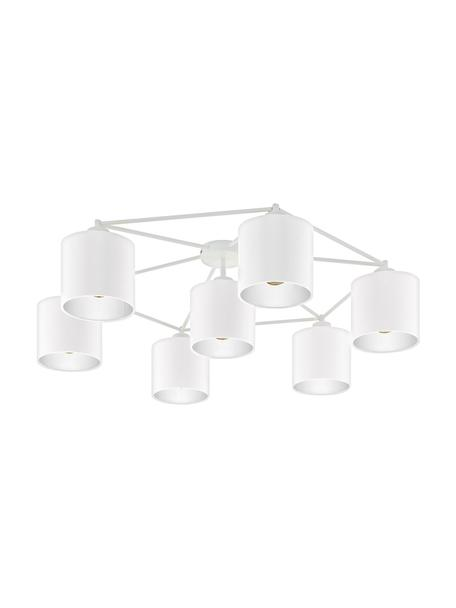 Faretti da soffitto bianchi Staiti, Baldacchino: acciaio verniciato, Paralume: tessuto, Bianco, Ø 84 x Alt. 24 cm