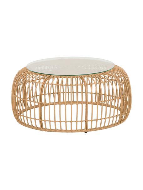 Polyrattan-Couchtisch Costa, Tischplatte: Glas, Gestell: Polyethylen-Geflecht, Hellbraun, Ø 85 x H 42 cm