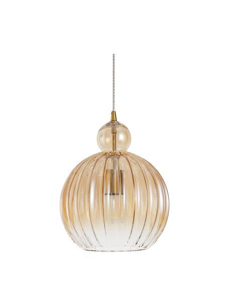 Kleine hanglamp Odell van getint glas, Lampenkap: glas, Baldakijn: metaal, Messingkleurig, amberkleurig, Ø 28 x H 36 cm
