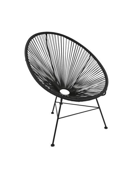 Loungefauteuil Bahia uit kunstvlechtwerk, Zitvlak: kunststof, Frame: gepoedercoat metaal, Zwart, B 81 x D 73 cm