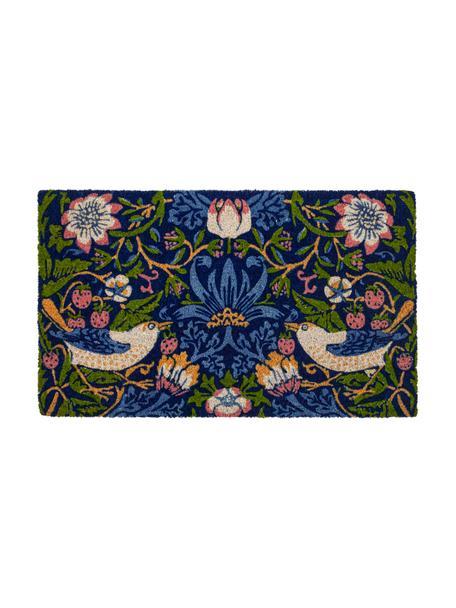 Fußmatte Strawberry Thief, Kokosfaser, Blau, Mehrfarbig, 45 x 75 cm