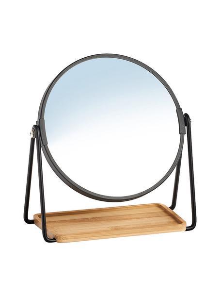 Runder Kosmetikspiegel Nora mit Ablagefläche und Vergrößerung, Gestell: Metall, beschichtet, Ablagefläche: Bambus, Spiegelfläche: Spiegelglas, Schwarz, Beige, Ø 18 x H 21 cm