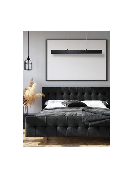 Große Schmale LED-Pendelleuchte Pierce in Marmoroptik, Lampenschirm: Metall, foliert, Baldachin: Metall, foliert, Schwarz, marmoriert, 90 x 10 cm