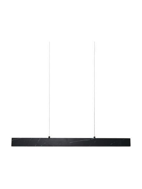 Grote smalle LED hanglamp Pierce met marmerlook, Lampenkap: gefolieerd metaal, Baldakijn: gefolieerd metaal, Gemarmerd zwart, 90 x 10 cm