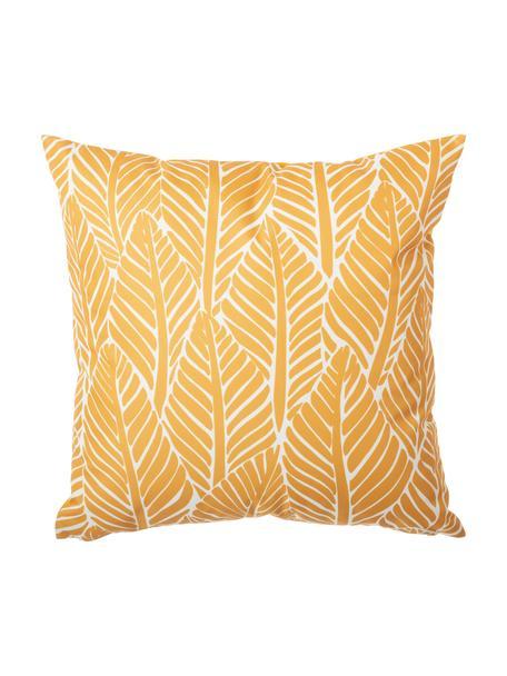 Cuscino da esterno con motivo foglie e imbottitura Sanka, 100% poliestere, Giallo, Larg. 45 x Lung. 45 cm