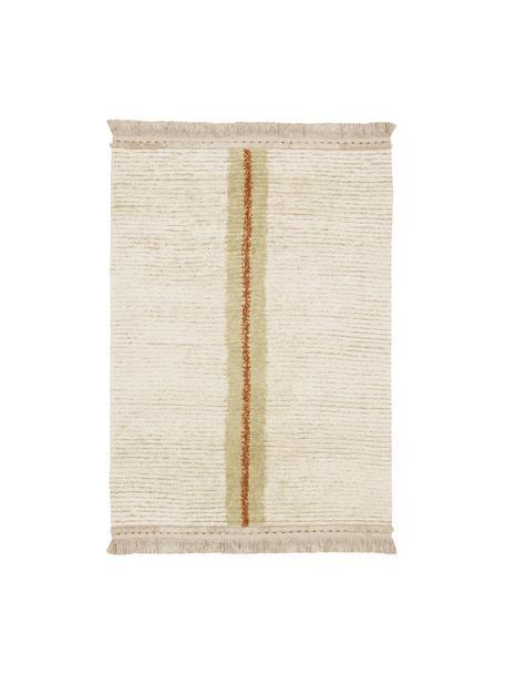 Tappeto reversibile in lana color crema/beige lavabile fatto a mano con motivo Tundra, Retro: cotone riciclato, Beige, Larg. 140 x Lung. 200 cm (taglia S)
