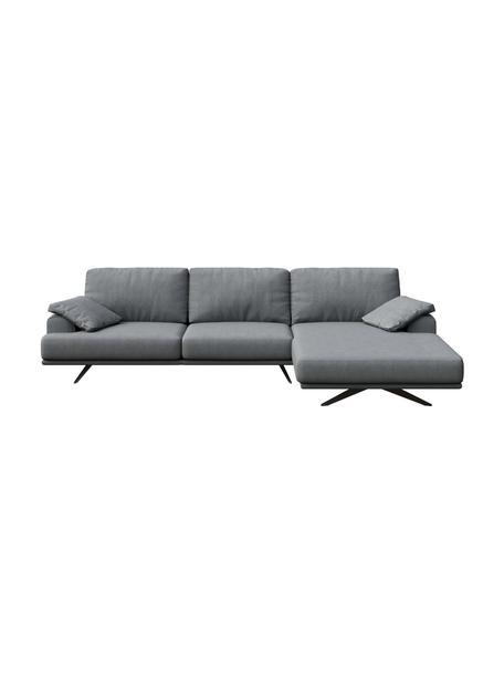 Sofa narożna Prado, Tapicerka: 100% poliester, Nogi: metal lakierowany, Jasny szary, S 315 x G 180 cm