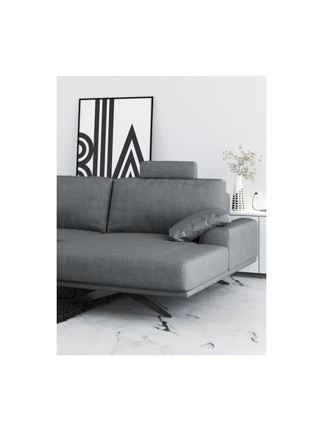 Sofá rinconero Prado, Tapizado: 100%poliéster, Patas: metal pintado, Gris claro, An 315 x F 180 cm