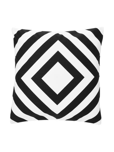 Kussenhoes Sera in zwart/wit met grafisch patroon, 100% katoen, Wit, zwart, 45 x 45 cm