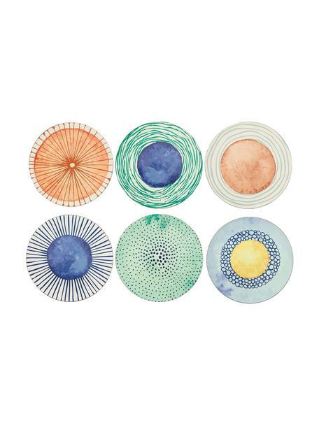 Kunststof-onderbord Marea met kleurrijke designs, 6-delig, Kunststof, Blauw, wit, geel, groen, oranje, Ø 33 cm