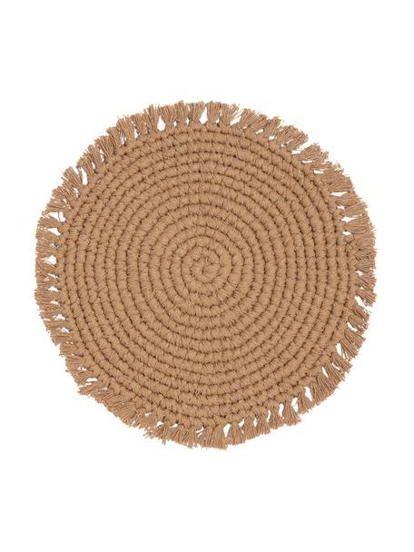 Ronde placemat Vera met franjes, 100% katoen, Beige, Ø 38 cm