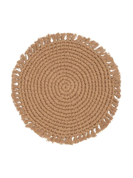 Tovaglietta americana rotonda in cotone con frange Vera, 100% cotone, Beige, Ø 38 cm