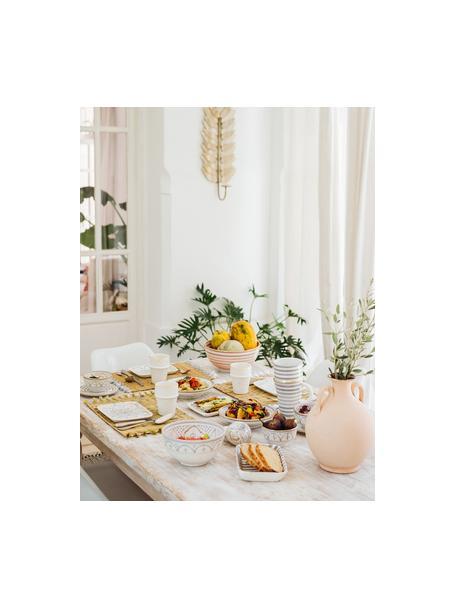 Handgemachte marokkanische Salatschüssel Couleur mit Goldrand, Ø 25 cm, Keramik, Orange, Cremefarben, Gold, Ø 25 x H 12 cm
